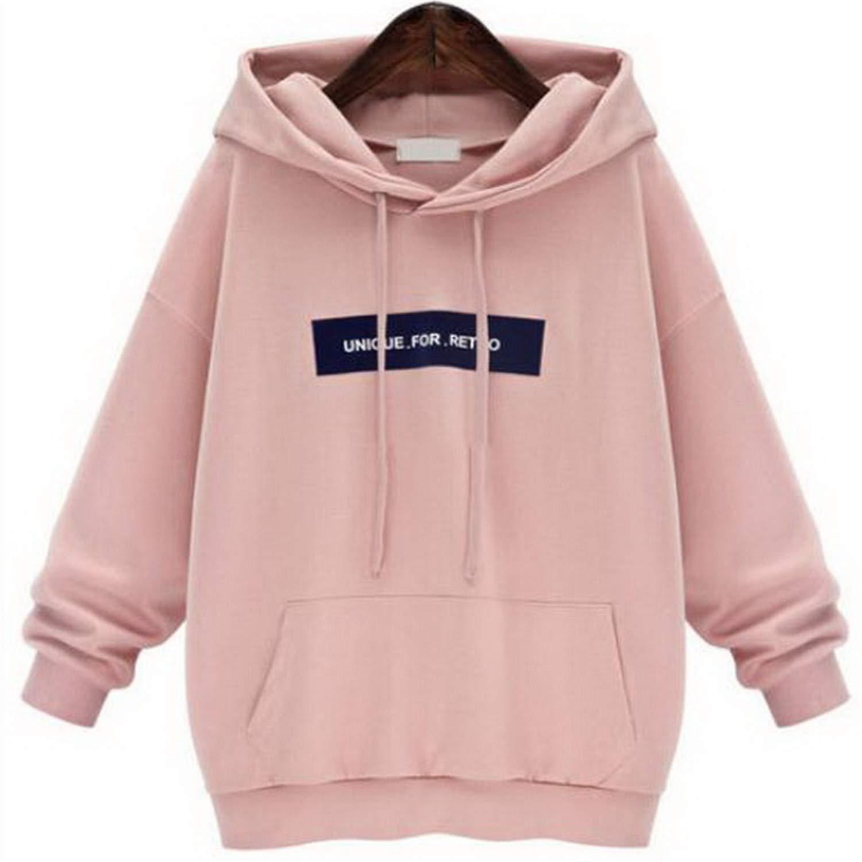 Amazon.com: BA Hoddies Sweatshirts Female Hoodie Pink & Gray Plus Size Sweatshirt Hoodies Women Long Sleeves Hoody for Women Thi: Clothing
