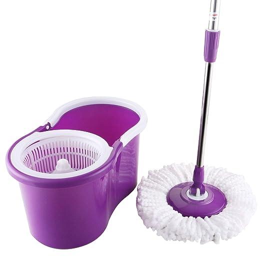 Easy Magic Floor Mop 360° Bucket 2 Heads Microfiber Spin Rotating Head New