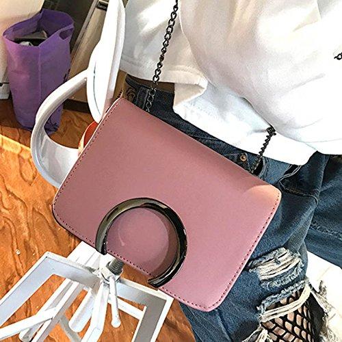 Leather Crossbody Korean Shoulder Pink Ladies Adealink Letter Travel Clutch Women Causal Handbag Fashion Bags Chain Bag Messenger C qpS6SXw