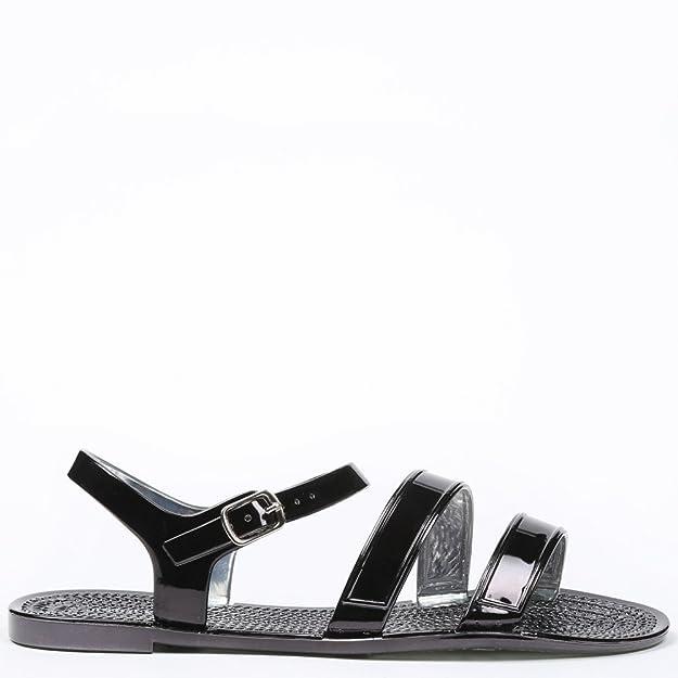 Ideal Shoes Sandali Piatte levigate Sandra, Nero (nero), Fr 40