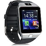 DZ09 Bluetooth Smart Watch - Aeifond Touch Screen Smart Wrist Watch Smartwatch Fitness Tracker Camera Pedometer SIM TF Card Slot Compatible Samsung Android iPhone iOS Women Kids Men (Silver)