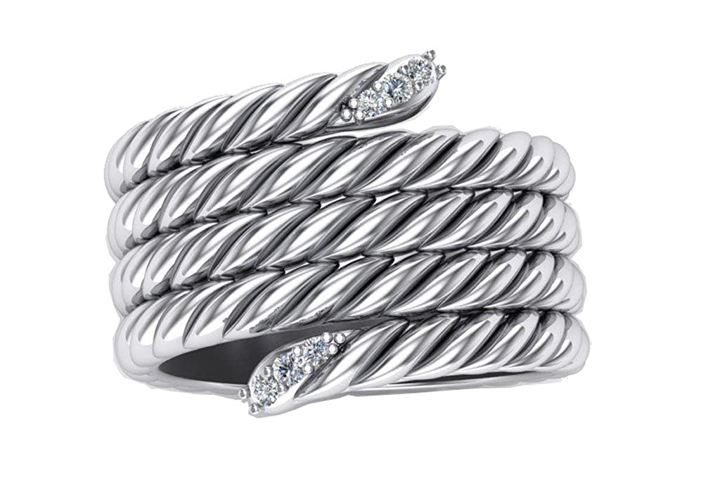 Gempara Designer Inspired 14K White Gold Plated Cable Classic Rope Ring