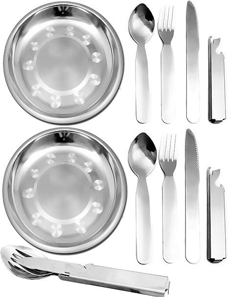 Outdoor saxx® – 2ER Set | 2 x Picnic Plato de acero inoxidable + 2 x camping Cubiertos, cuchillo tenedor cuchara latas de – Abridor de botellas, 10 ...