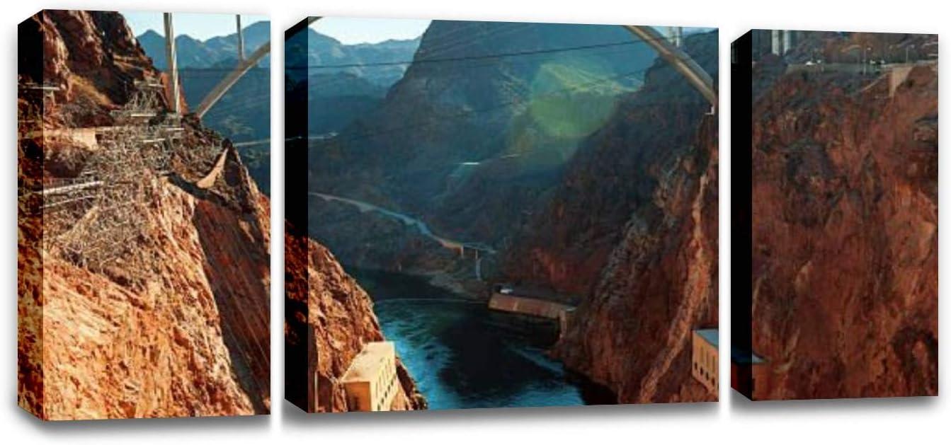CCArtist Glen Bridge Canyon Dam Colorado River, Hoover Dam Nevada USA Wall Decor Print on Canvas Modern Artwork Living Room Bedroom Painting Art Wall