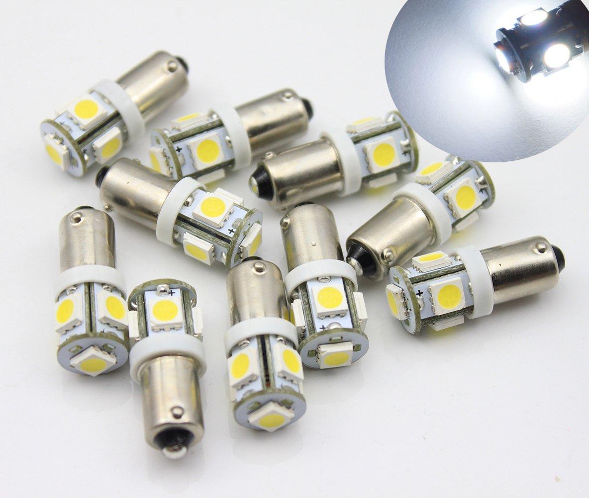 10 x 6 V BA9S T11 baï onnette 5 LED Blanc Tableau de bord Jauge de Dash ampoule bosmaa