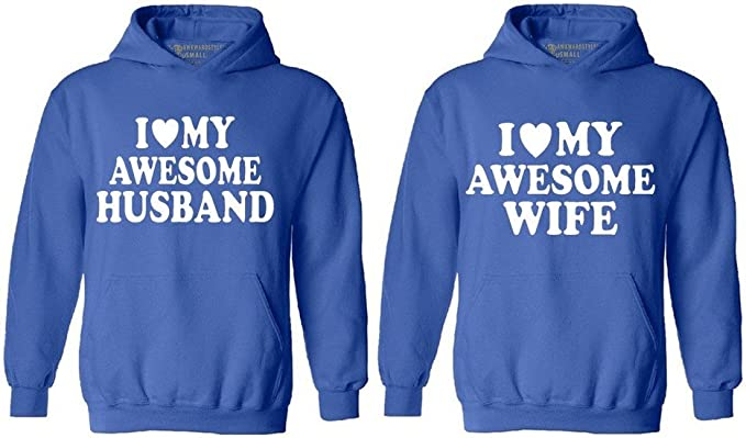 I LOVE MY AWESOME HUSBAND WIFE COUPLE HOODIE Matching Couple Love HOODIE Sweater