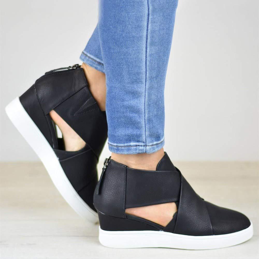 Kauneus  Women's Concise Criss-Cross Cut-Out Wedge Sneakers Comfortable Back Zipper Shoes Black by Kauneus Fashion Shoes (Image #5)
