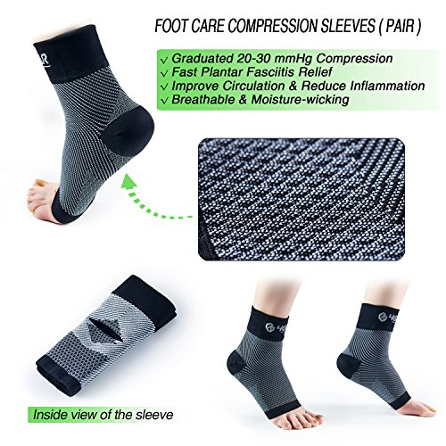 bffff9e36f Amazon.com: 4GEAR Plantar Fasciitis Relief & Recovery Kit - 9 PCs - Foot  Care Compression Sleeves, Silicone Heel Protectors, Massage Ball, Cushioned  Arch ...