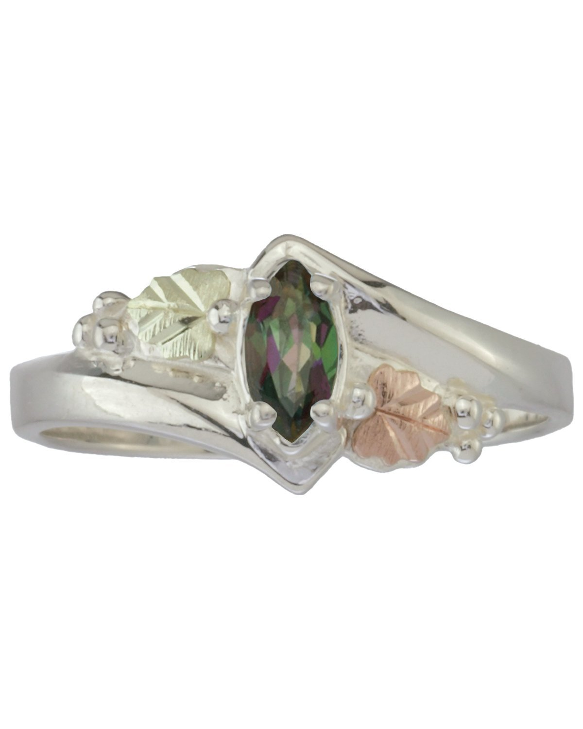 Mystic Fire Topaz Marquise Bypass Ring, Sterling Silver, 12k Green and Rose Gold Black Hills Gold Motif, Size 12.25