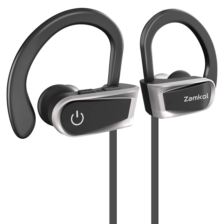 Bluetooth Earphones, ZamKol Sport Wireless Headphones, Bass Stereo in-Ear Earphones Waterproof IPX7 with Mic, Noise Cancelling for Running, 7-9 Hours