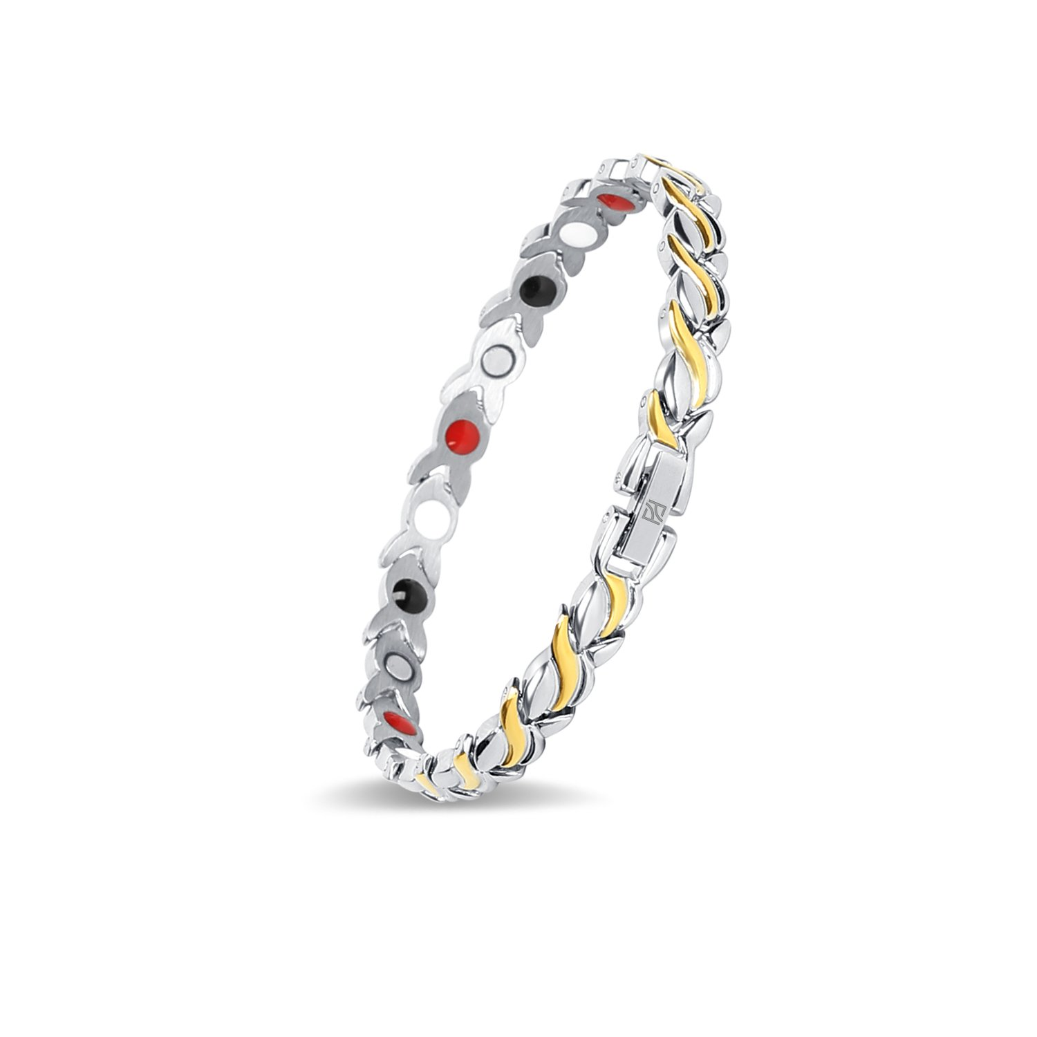 Fashion Titanium Magnetic Therapy Bracelet Pain Relief for Arthritis and Carpal Tunnel Girl for Elegant Women (Silver+Gold)