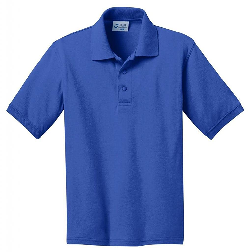 Port /& Company Youth Comfortable Rib Knit Collar Polo Shirt/_Royal/_Medium