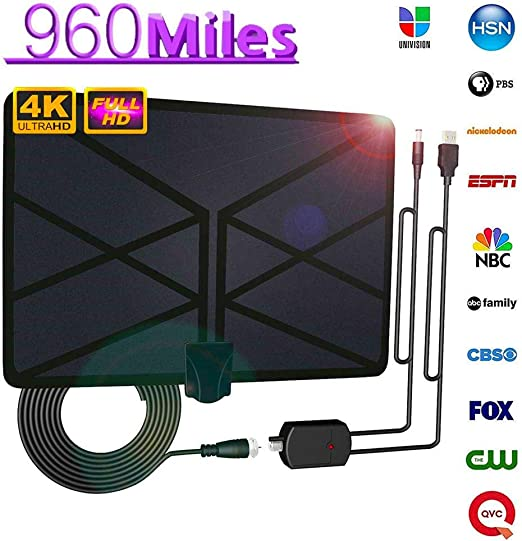 likeitwell Antena De TV, Antena HDTV Digital Amplificada para Interiores, Alcance De 960 Millas con TV con TDT 4K HD1080P DVB-T, para Todo Tipo De Televisores Smart Home: Amazon.es: Hogar
