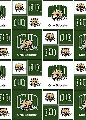Cotton University of Ohio Bobcats College Cotton Fabric Print by the Yard (ohio020)