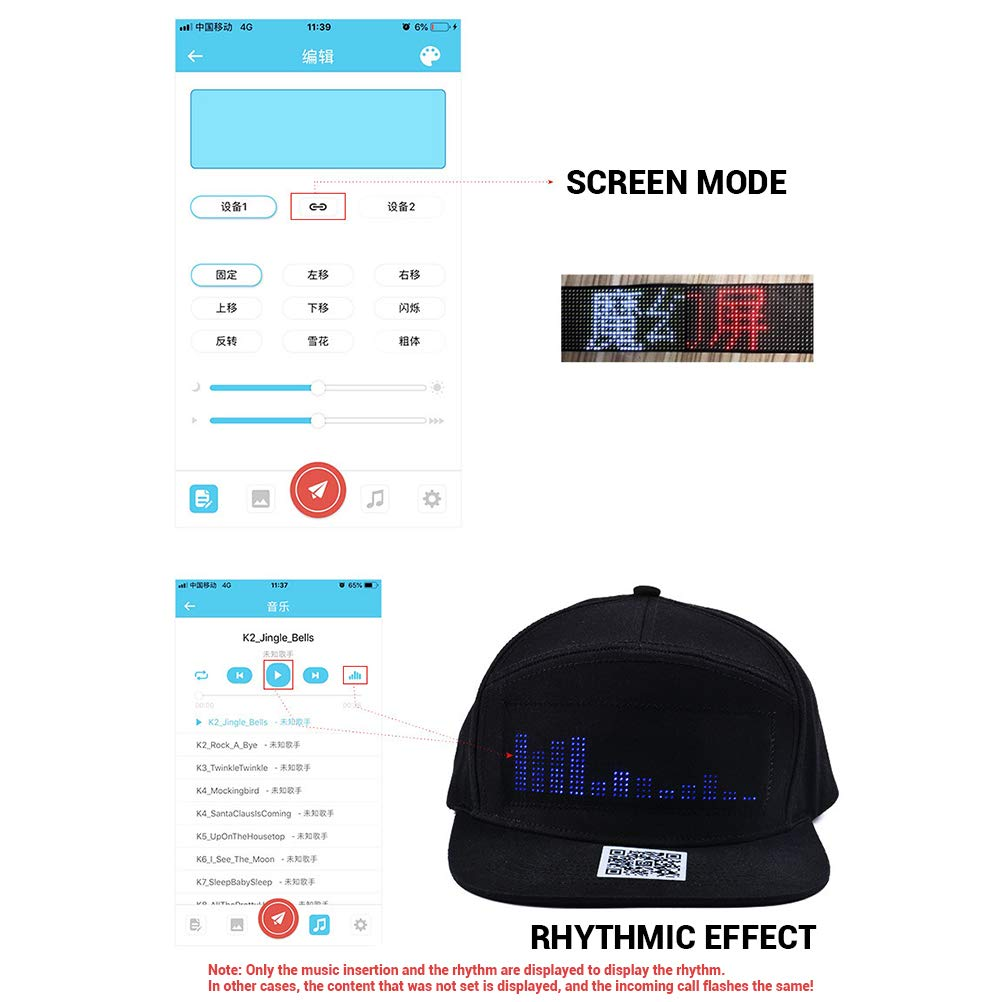 Bweele LED Luminous Hat, Fashion Cap LED Impermeable Smartphone ...