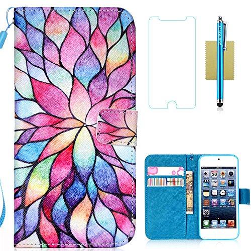 iPod Touch 6 Case,iPod Touch 5 Case,iPod Touch 6th Case,CASELAND PU Leather Flip Wallet Case for Apple iPod Touch 6,Case for Apple iPod Touch 5 [Flower] ()