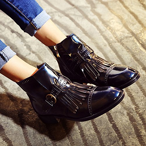 needle boots leather tassel Fall BLACKBLUE and winter NSXZ handsome leather round boots 90160CM buckle women's pwIWxn7a