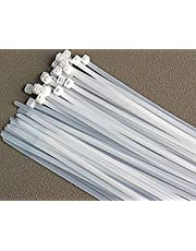 Cable ties, Cable Management White Wire Zip Ties Nylon Cables Ties (200mm) (Pack of 100)