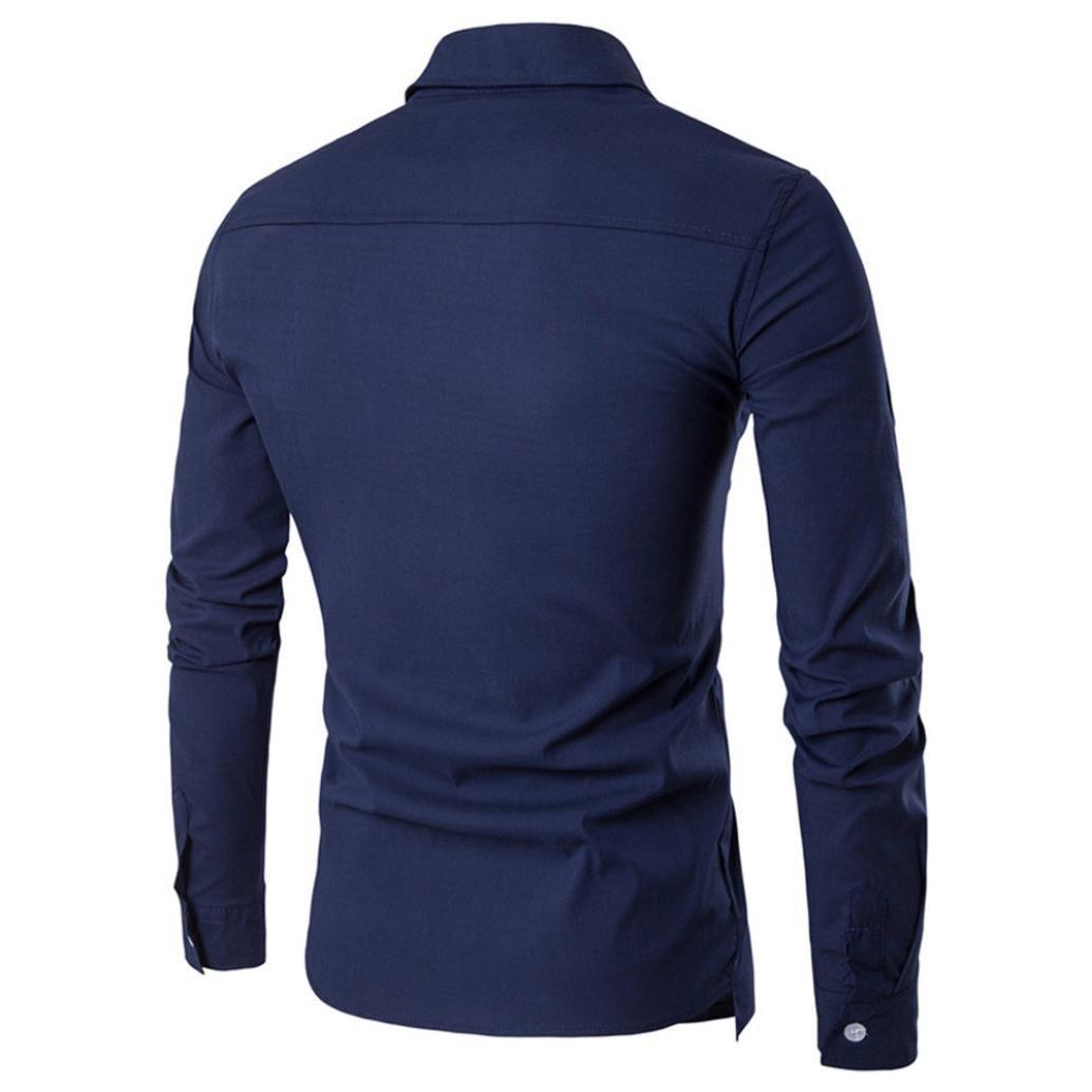 4f406ab33328 YANG-YI Luxury Men Casual Shirt Long Sleeve Formal Business Slim Shirt T  Shirt Top at Amazon Men's Clothing store: