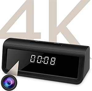WAYMOON 4K Hidden Spy Camera Wireless Hidden WiFi Clock Camera Home Security Nanny Camera with Night Vision,160 Ultra Wide Angle,Motion Detection