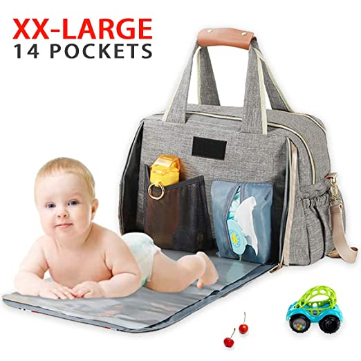 Diaper Bag Backpack Baby Diaper Bag Organizer Large Travel Bag Duffle Bag and Big Tote Diaper Bags for Girls and Boys with Changing Pad, Insulated Pockets(Gray)
