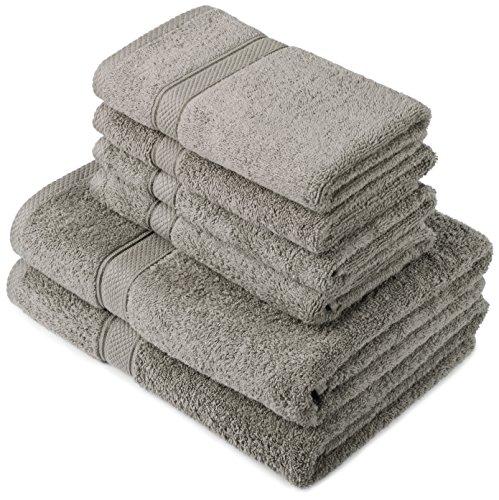 Pinzon by Amazon Lot deserviettes, 2 draps de bain et 4serviettes de bain en coton Gris