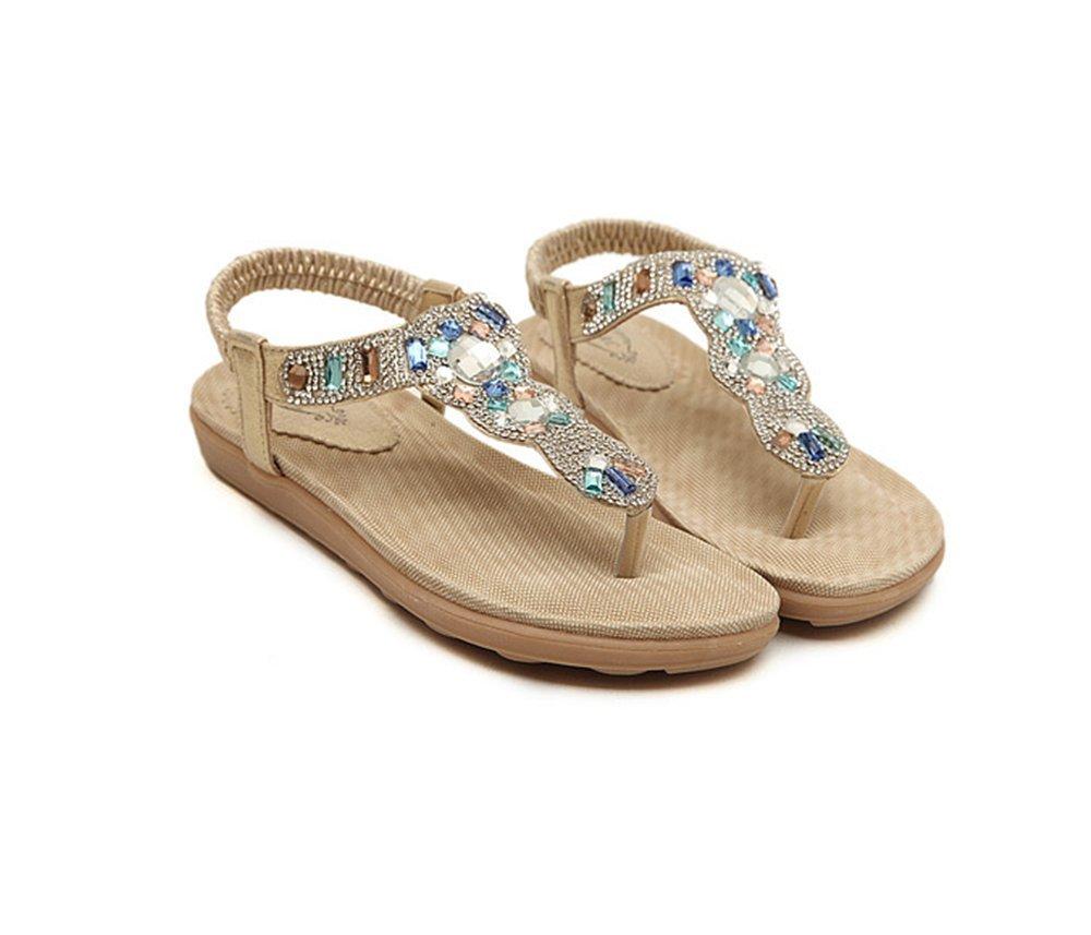 Mon's Gift Women Bohemia Style Sandals Flower Beads T-Strap Flip Flop Flats Slip on Thong (Shining Gold, 10 B(M) US/41EU)