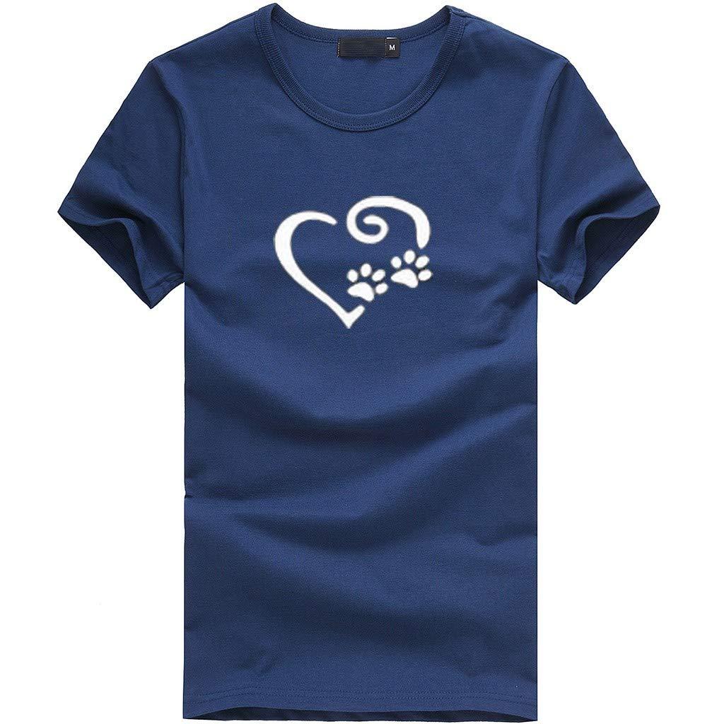 Gocheaper Fashion Women's Loose Short-Sleeved Print T-Shirt Casual O-Neck Top(Navy,XXXL)