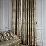 "PASSENGER PIGEON Country Jacquard Gold Floral Lining Blackout Grommet Top Curtains Draperies Panels With With Multi Size Costomized 100"" W x 96"" L (One Panel)"