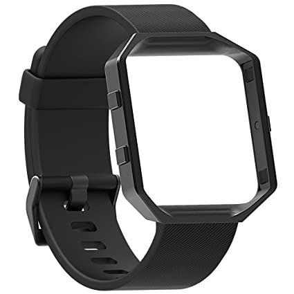EEEKit Replacement Silicone Strap Wristband + Stainless Steel Frame for Fitbit Blaze SmartWatch Fitness Tracker