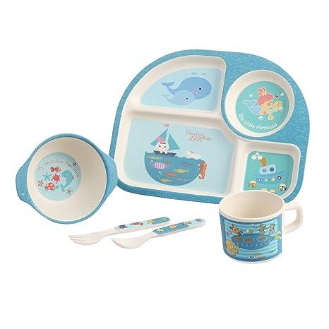 Conjunto de vajilla de fibra de bambú para bebés Servicio de mesa para niños Cubiertos plato