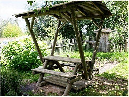 ITALFROM Cenador de Madera con Mesa y jardín Pergola Enrejado tettoia Pabellones de Madera de jardín: Amazon.es: Hogar
