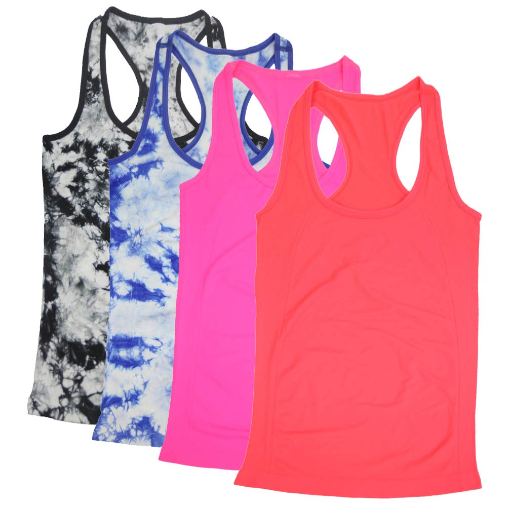 BollyQueena Long Workout Tanks for Women, Women's Active Tank Top Fitness Top XL 4 Packs Orange Red&Magenta&Black-White&Blue-White