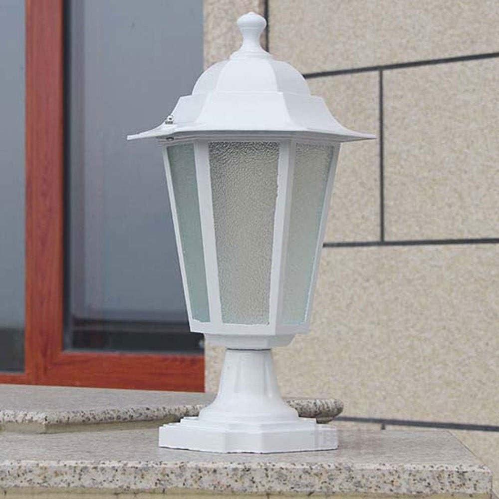XAJGW Luz Exterior Lámpara de Mesa Final Blanca País mediterráneo Pared de Patio Exterior Puerta de Columna Lámpara Villa barandilla Lámpara Vertical (Size : Hexagon-37cm)
