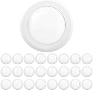 "Sunco Lighting 24 Pack 5 Inch / 6 Inch Flush Mount Disk LED Downlight, 15W=100W, 2700K Soft White, 1050LM, Dimmable, Hardwire 4/6"" Junction Box, Recessed Retrofit Ceiling Fixture"