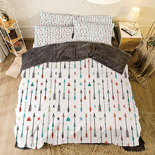 All Season Flannel Bedding Duvet Covers Sets for Girl Boy Kids 4-Piece Full for Bed Width 6.6ft Pattern by,Arrow Decor,Traditional Tribal Tools Inspired Modern Illustration of Ethnic Authentic Origi -