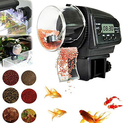Aquarium Fish Care Time Setting Adjustable Automatic Food Fish-tank Feeder Timer Simple Operation and Installation Long Holiday No Worries Food Time FFD71
