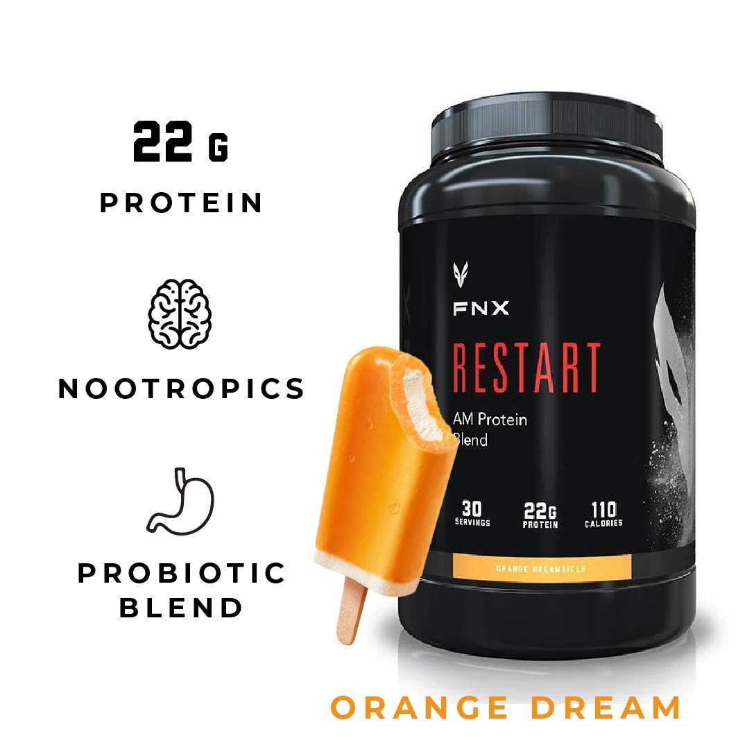 FNX Restart AM Brain Boosting Morning Protein Shake Powder Supplement Blend with Nootropics, Caffeine, Probiotics, and 22 Grams Protein per Serving, Orange Dreamsicle