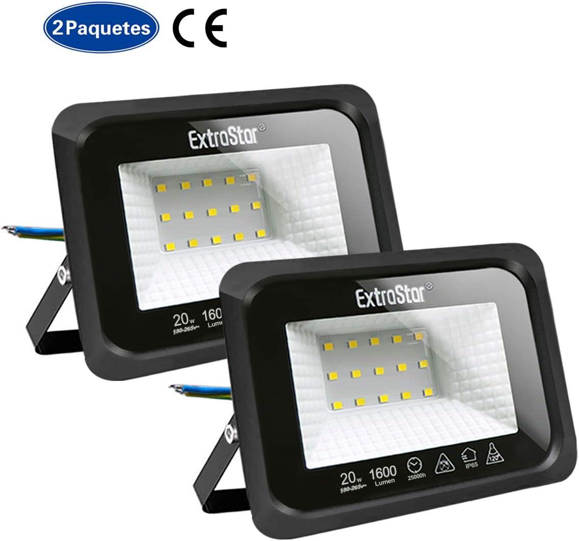 Focos LED exterior 20W Extrastar Potente Luces Led Exterior IP65, Luz de Seguridad Blanca Cálida 6500K para Terraza, Jardín, Patio, Parque, Garaje [Clase de eficiencia energética A+]2 paquetes