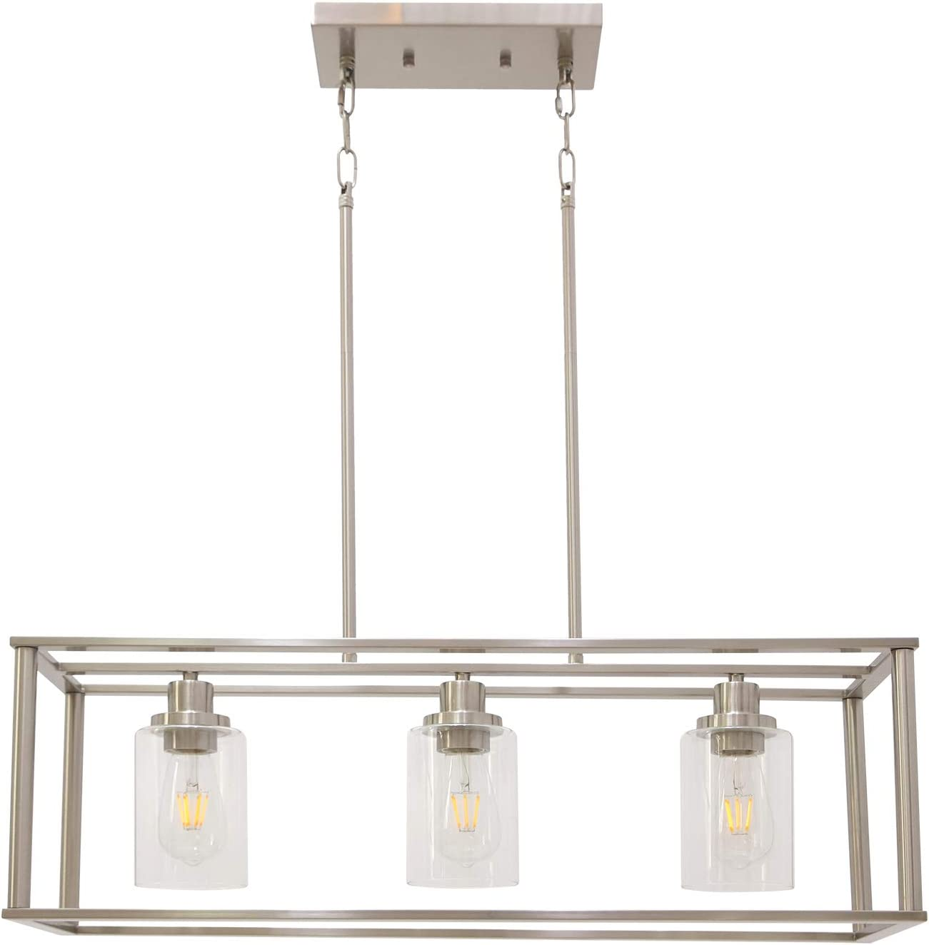 VINLUZ 3 Light Linear Chandeliers Brushed Nickel with Clear Glass Shade Modern Kitchen Island Pendant Dining Room Light Fixture Hanging Farmhouse Ceiling Light for Living Room Bar