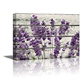 wall26 Canvas Prints Wall Art - Retro Style Purple Flowers on Vintage Wood Background Rustic Home Decoration - 24'' x 36''