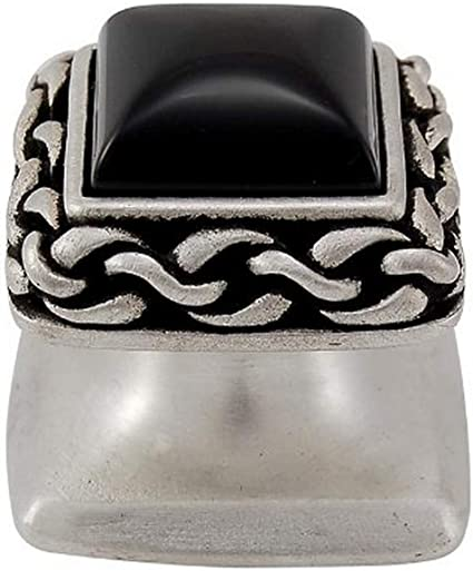 Polished Nickel Vicenza Designs K1151 Black Onyx Gioiello Square Stone Insert Style 5 Knob Small