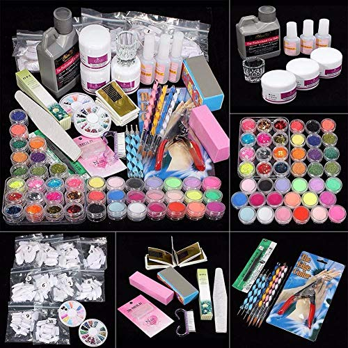 ️ Yu2d ❤️❤️ ️42 Acrylic Nail Art Tips Powder Liquid Brush Glitter Clipper Primer File Set Kit