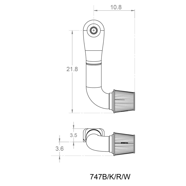 Spectre Performance 747 Single Plenum Kit with 90/° Tube