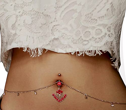 Women Sexy Rhinestone Piercing Bar Body Jewelry Belly Chain Amazon