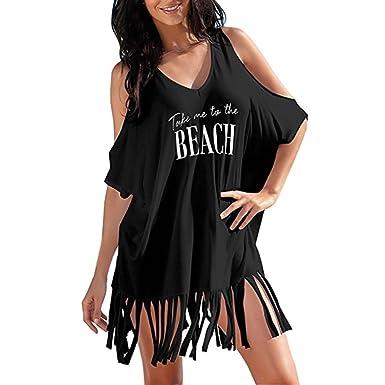 0fcee8db965b9 Women's Tassel Swimwear Cover-Ups Letters Print Swimsuit Baggy Beachwear  Bikini Beach Dress Swimwear for