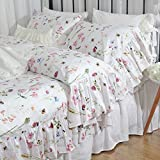 Queen's House Egyptian Cotton Floral Duvet Cover King Bedding Sets-B