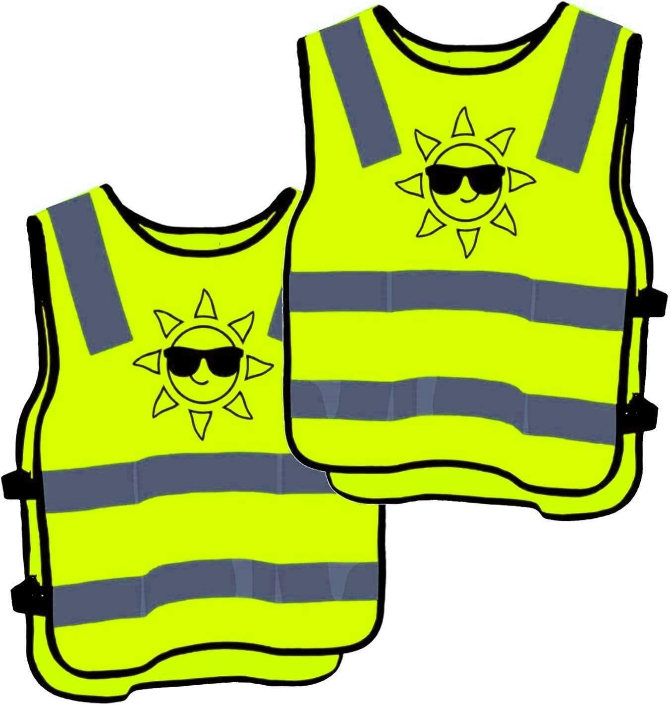 2 Warnweste Kinder Sicherheitsweste Gelb Stark Sichtbar Atmungsaktiv Universal Größe Schutz Für Jungs Mädchen Auto