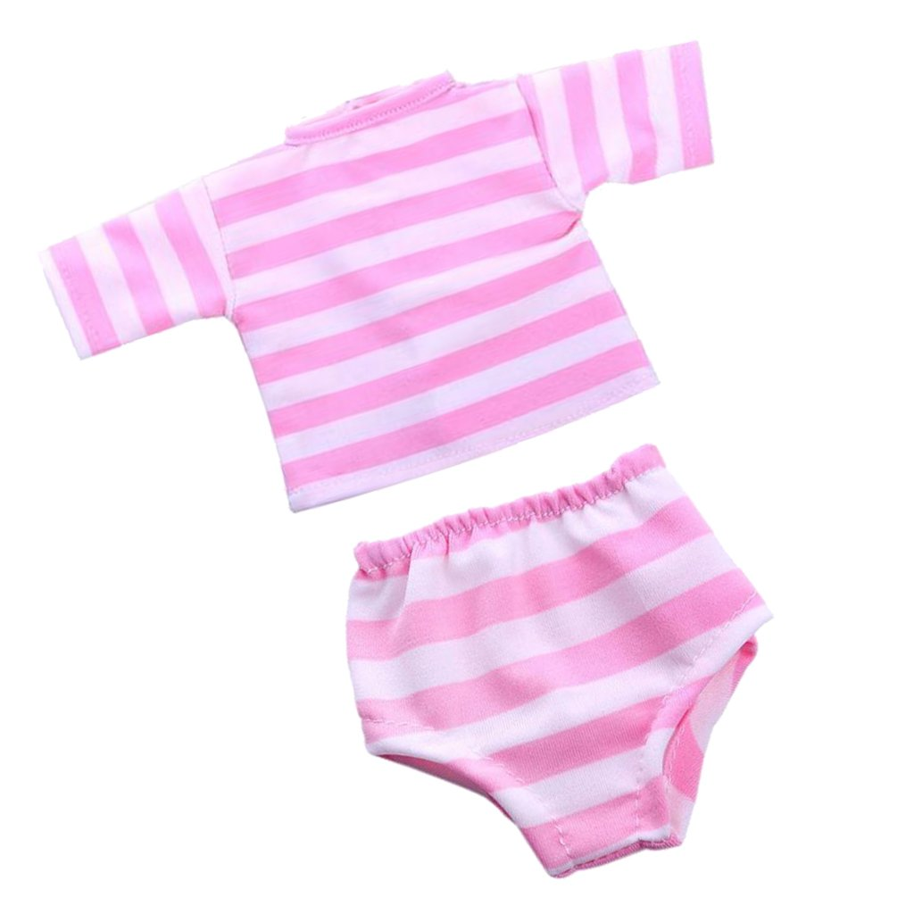 Sharplace 2Pcs Doll Handmade Clothes Costume Short Sleeve Round Neck Striped T-shirt Tops & Striped Underpants Knickers Underwear Briefs Panties Set for 18'' American Girl My Life Dolls Accessories Pink