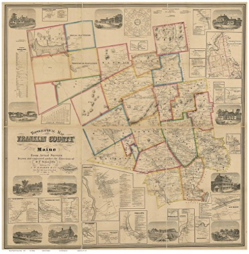 (Franklin County Maine 1861 - Wall Map with Homeowner Names - Old Map)